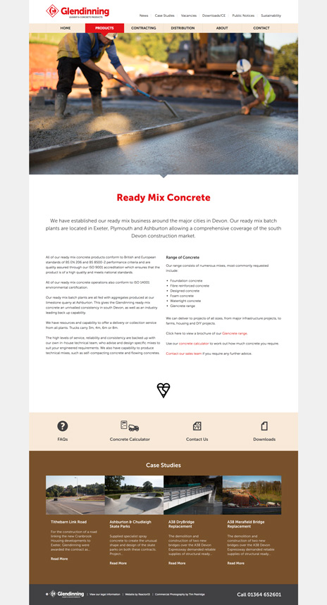 Glendinning website Ready Mix Concrete Page